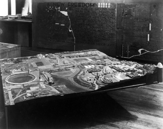 """Broadacre City model in construction in Arizona. 1935. """"The Frank Lloyd Wright Foundation Archives (The Museum of Modern Art 
