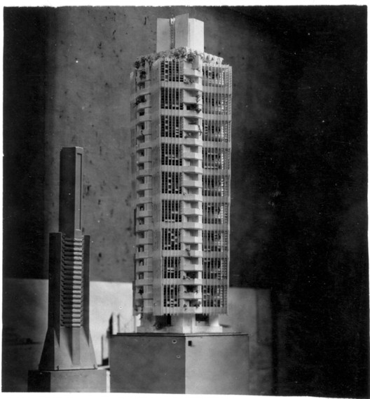 """St. Marks's in-the-Bowerie model on exhibition at the Art Institute of Chicago. 1930. """"The Frank Lloyd Wright Foundation Archives (The Museum of Modern Art 