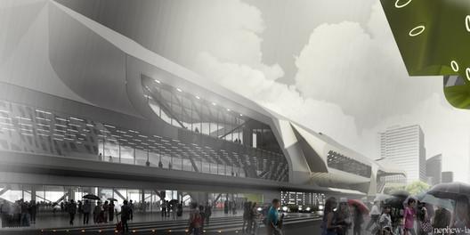 View of Terminal entrance - Courtesy of Neil M. Denari Architects