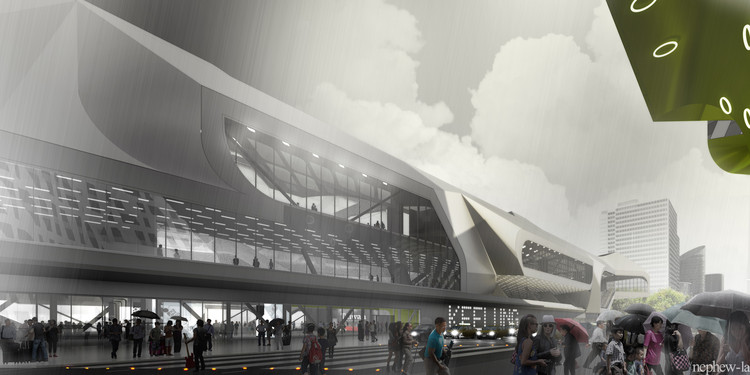 View of Terminal entrance - Courtesy of Neil M. Denari Architects