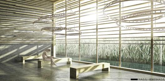 entrance hall / Courtesy of BAT + Arquitecnica + LaSuma Paisajistas