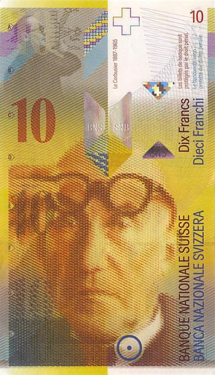 Le Corbusier on the Swiss 10 franc banknote, © Will's Online World Paper Money Gallery