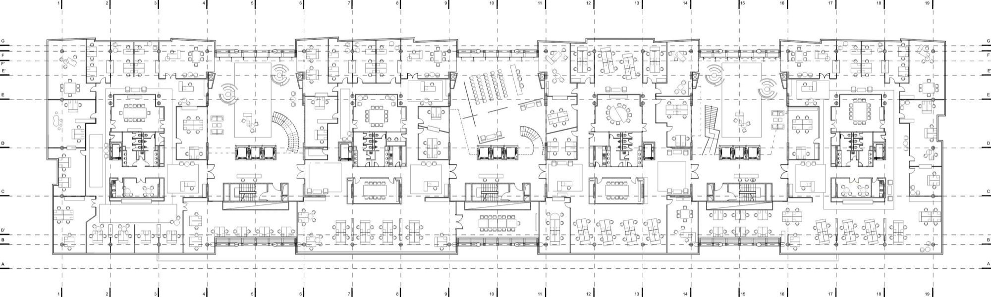 Gallery of in progress b23 office park off 18 for Typical office floor plan
