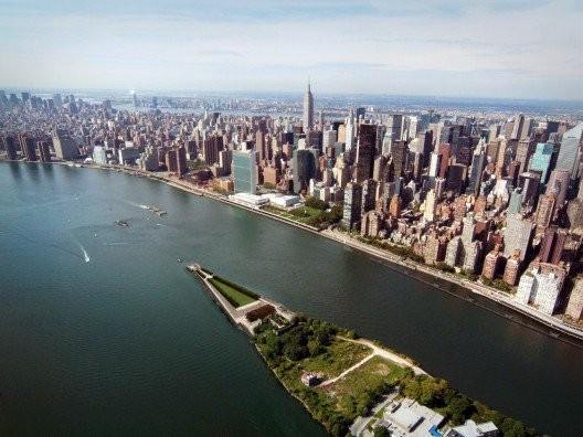Aerial Cityscape Rendering © Franklin D. Roosevelt Four Freedoms Park, LLC