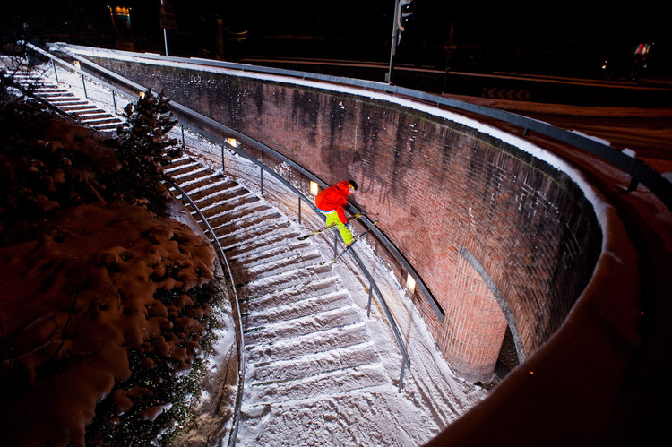 Paul Fischnaller sliding down a handrail at the Train Station in Bolzano, 2011. Image © Paul Fischnaller