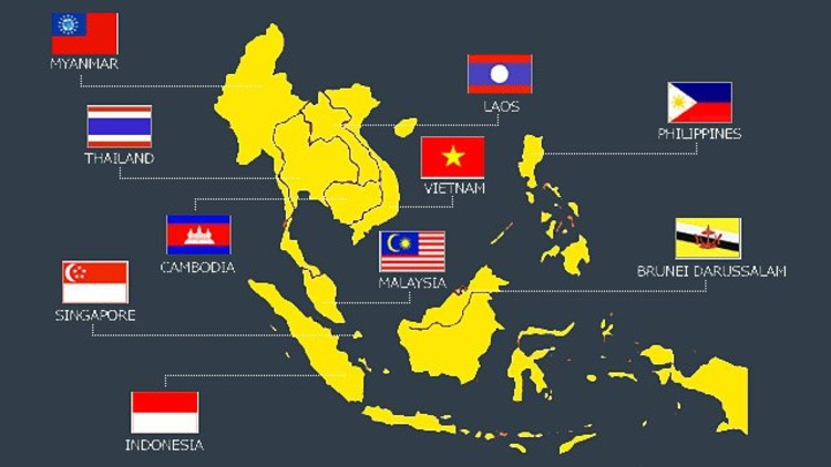 Map of the 10 ASEAN nations. Original image from Royal Irrigation Department of Thailand.