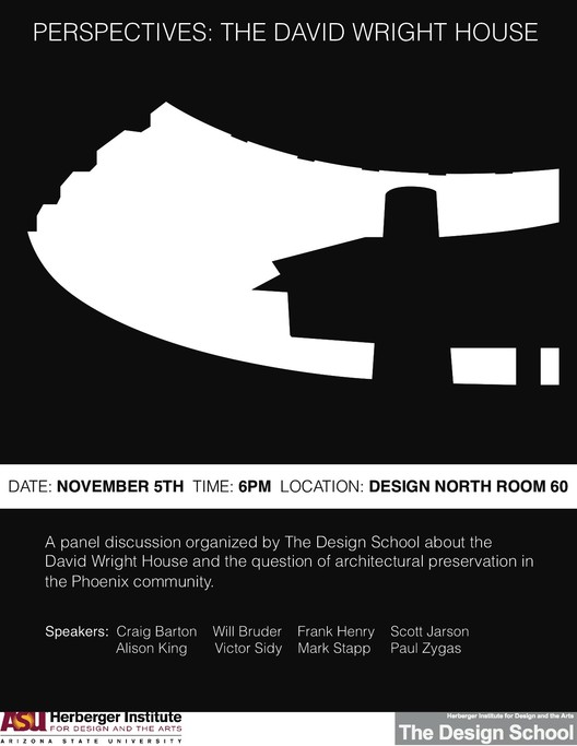 'Perspectives: The David Wright House' will be hosted by ASU on November 5, 2012
