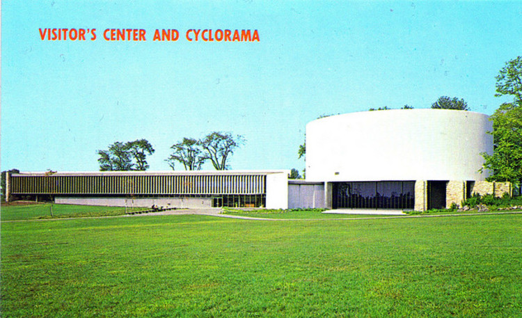 An old post card of the Cyclorama - Courtesy of Flickr user fauxto_digit. Used under <a href='https://creativecommons.org/licenses/by-sa/2.0/'>Creative Commons</a>