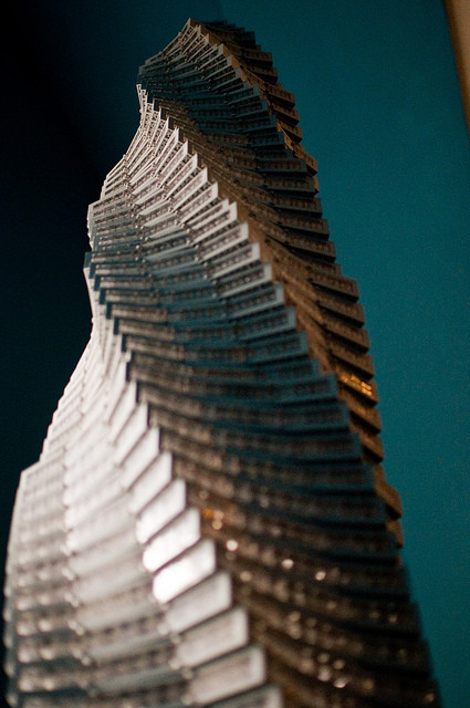 National Building Museum's Towering Ambition exhibition by Architect Adam Reed Tucker. Towering Spiral via Flickr User © 2010 Brian Mosley