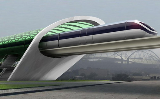 A concept rendering for Aeromovel, a system Elon Musk cites as similar to his Hyperloop. Photo via Dvice.
