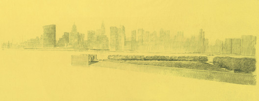 Louis Kahn's iconic sketch of Franklin D. Roosevelt Four Freedoms Park. Credit: Louis I. Kahn Collection, University of Pennsylvania and the Pennsylvania Historical and Museum Commission