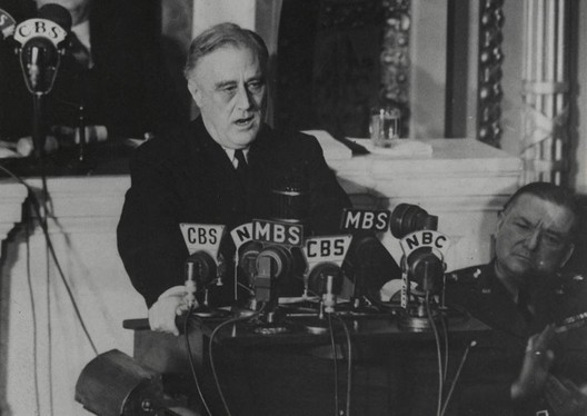 President Roosevelt delivering the Four Freedoms speech. Credit: public domain