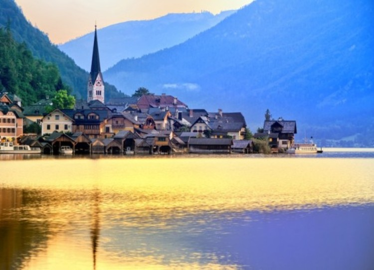 Hallstatt, Austria, the Unesco Heritage Site literally re-built, brick by brick, in China. Photo © Boris Stroujko via Inhabitat/Shutterstock