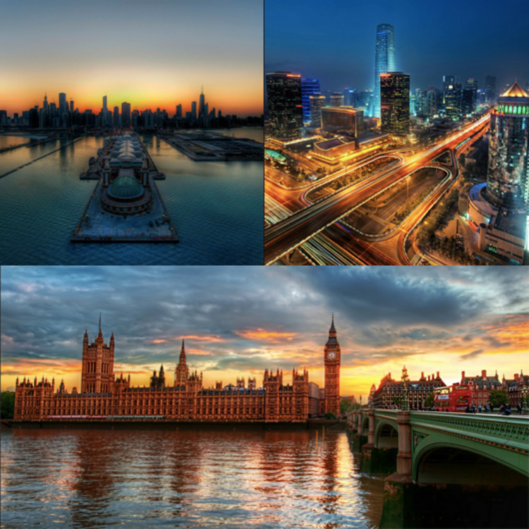 From upper left: Chicago, Beijing, London skylines. Images © Flicr User CC Stuck in Cummons