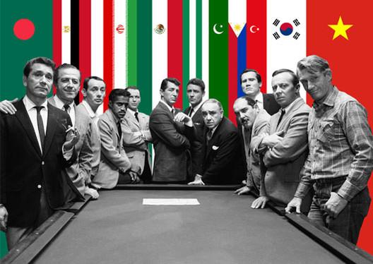 "©BOARD. Original image: Photo still from Lewis Milestone's 1960 ""Ocean's 11"" film starring Peter Lawford, Frank Sinatra, Dean Martin, Sammy Davis, Jr., and Joey Bishop. ©Warner Bros"