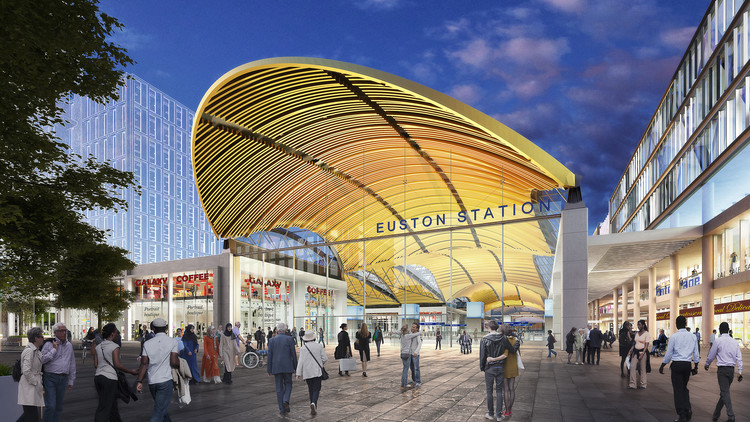 Grimshaw Reveal Vision for a High-Speed Concourse at London's Euston Station, HS2 Southern Entrance. Image © Grimshaw