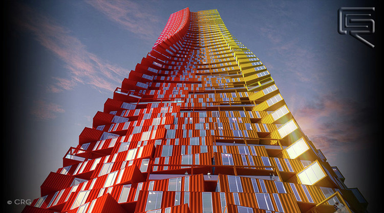 CRG Architects' proposal for a shipping container skyscraper in Mumbai. Image © EAFIE