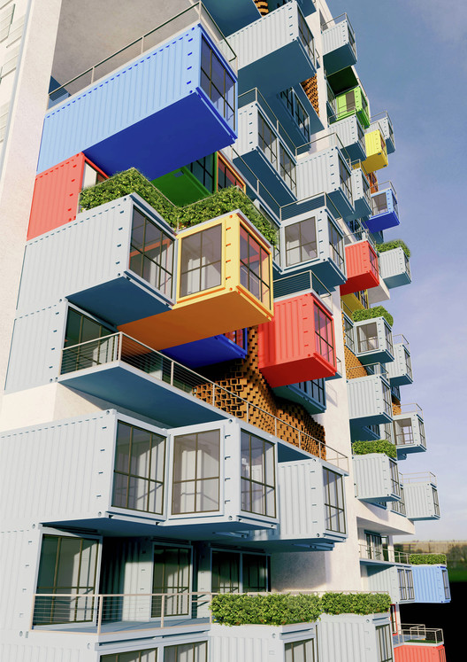 Ganti + Asociates Design's proposal for a shipping container skyscraper in Mumbai. Image Courtesy of GA Design