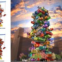 OVA Studio's 2014 proposal for a high-rise shipping container hotel. Image via Laughing Squid