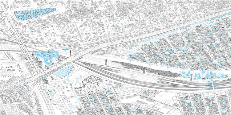 LOHA's WATERshed Reimagines and Reactivates the LA River, Axonometric view of the Elysian Valley