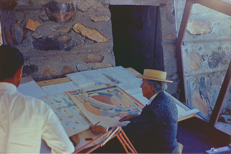 Frank Lloyd Wright at Taliesin West, 1955. Courtesy Frank Lloyd Wright Foundation, Scottsdale, Arizona