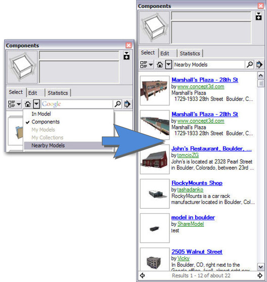 Nearby By model search in SketchUp 7.1 Component Browser