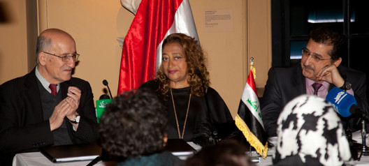 H.E. Dr Sinan Al-Shabibi, Governor of the Central Bank of Iraq, Zaha Hadid, H.E. Dr Muhielddin Hussein Abdullah, Charges d'Affaires of the Iraqi Embassy - Courtesy of Zaha Hadid Architects