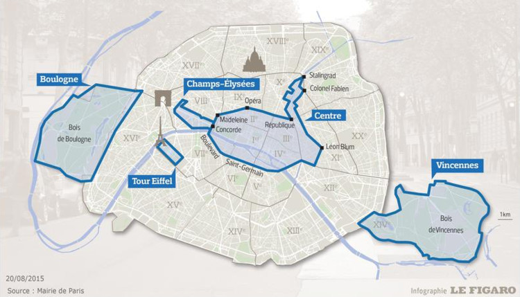 """""""París Sin Autos 2015″. Infografía elaborada por Le Figaro con datos del Ayuntamiento de París."""