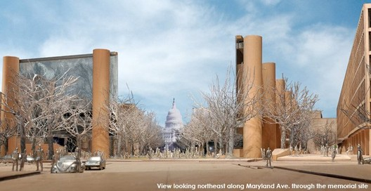 Winter view looking northeast along Maryland Avenue through the memorial site © Gehry & Partners