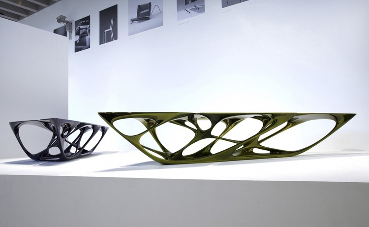 Mesa Table, 2007. Zaha Hadid (Iraqi, b. 1950). Polyurethane base, fiberglass top, metallic paint finish. 27 9/16 x 64 15/16 x 159 7/16 in. Midnight blue. Made by Vitra GmbH, Basel, Switzerland. Photography courtesy of Eduardo Perez.