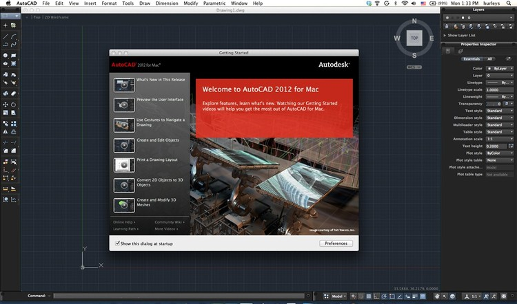 AutoCAD 2012 for Mac welcome screen