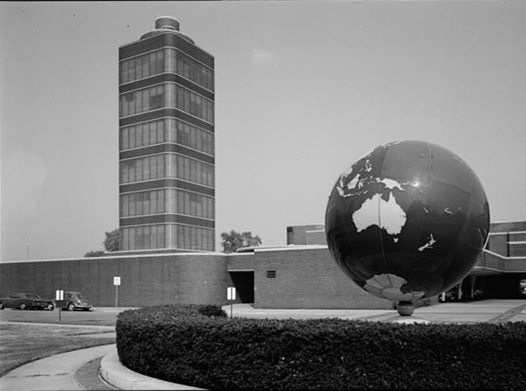 Johnson Wax Headquarters (exterior), Racine, Wisconsin. Photo by Jack E. Boucher, National Park Service,August, 1969.