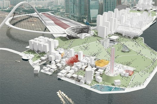 West Kowloon Cultural District Theater Village from Water © OMA
