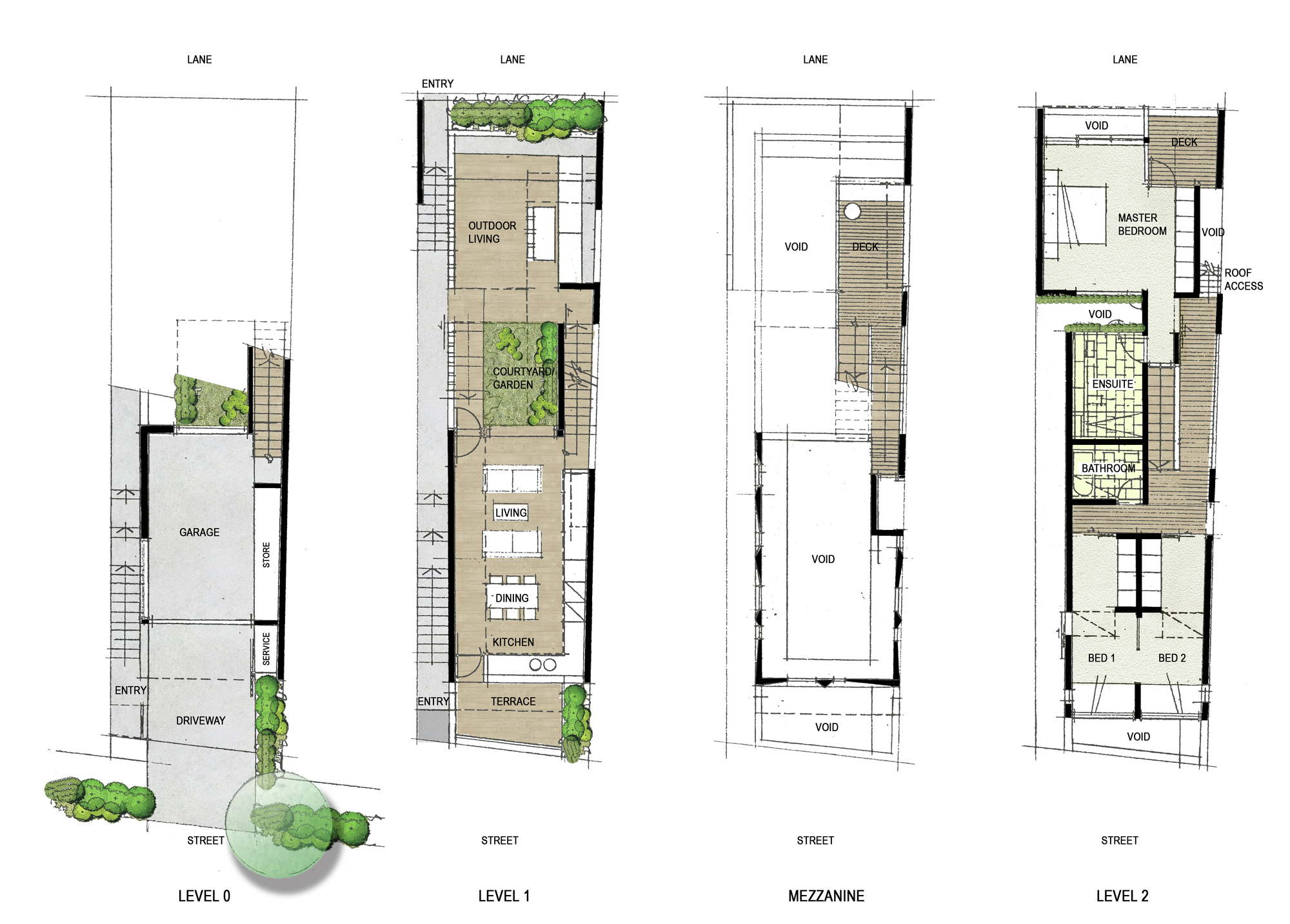 Gallery of queensland courtyard house plazibat jemmott for Narrow lot house plans with courtyard