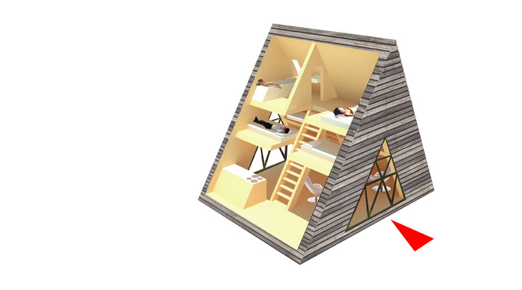 45m2 - axonometric view of the configurations of spaces
