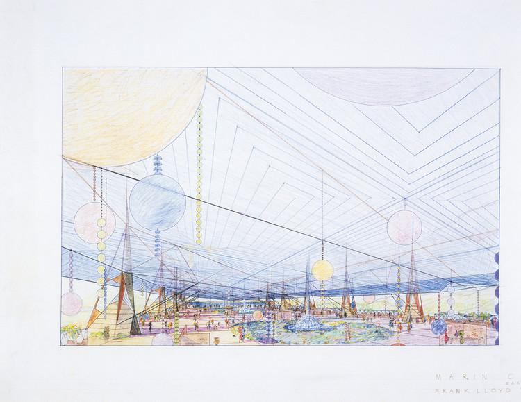 Pabellón de ferias para el Centro Gubernamental Marin County (sin construir) San Rafael, California, 1957