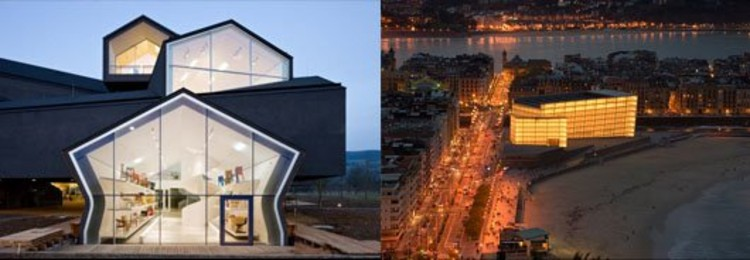 Left, VitraHaus, by Herzog & de Meuron. Right, Kursaal Convention Centre, by Rafael Moneo. Photo via Flickr CC User popihmt. Used under <a href='https://creativecommons.org/licenses/by-sa/2.0/'>Creative Commons</a>