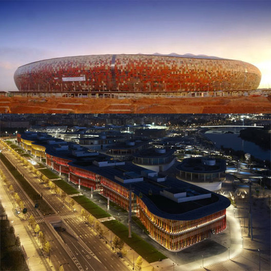 Top, Soccer City Stadium, by Populous for the 2010 World Cup in South Africa. Below, the Ronda Building, designed by Estudio Lamela. Photo © Daniel Schafer.