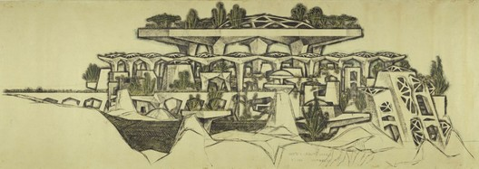 Paolo Soleri, detail, Mesa City Market (Arts and Crafts), 1961. Pencil, Charcoal, pastel on paper. Collection of the Cosanti Foundation. © Paolo Soleri. Photo: Cosanti Foundation/Soleri Archives/David DeGomez