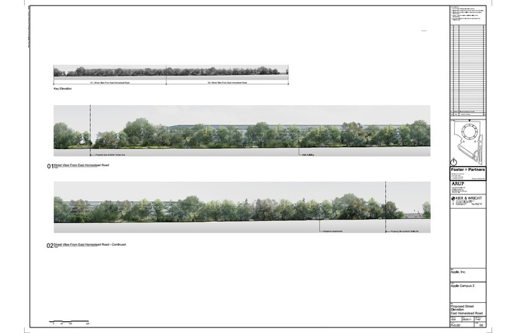 Proposed street elevation, East Homestead Road © Foster + Partners, ARUP, Kier & Wright, Apple