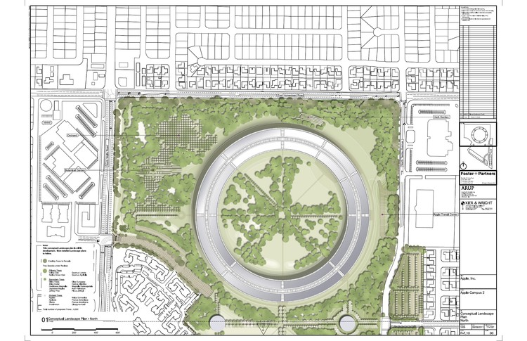 Conceptual landscape plan north © Foster + Partners, ARUP, Kier & Wright, Apple