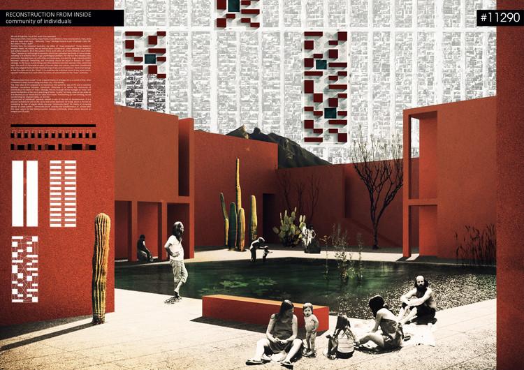 """Mención Honrosa: """"Reconstruction from inside. Community of individuals"""". Image Cortesía de RETHINKING Competitions"""