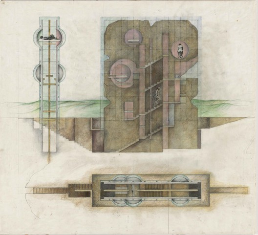 Elevation and plan of Raimund Abraham's The House without Rooms (1974). Image © 2015 Raimund Abraham