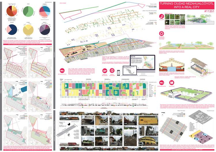 """Mención Honrosa: """"Turning ciudad nezahualcoyotl into real city"""". Image Cortesía de RETHINKING Competitions"""
