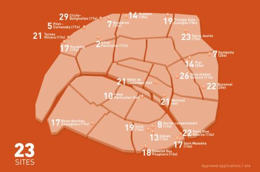 Mapa dos 23 terrenos de intervenção. Imagem © Reinventer Paris