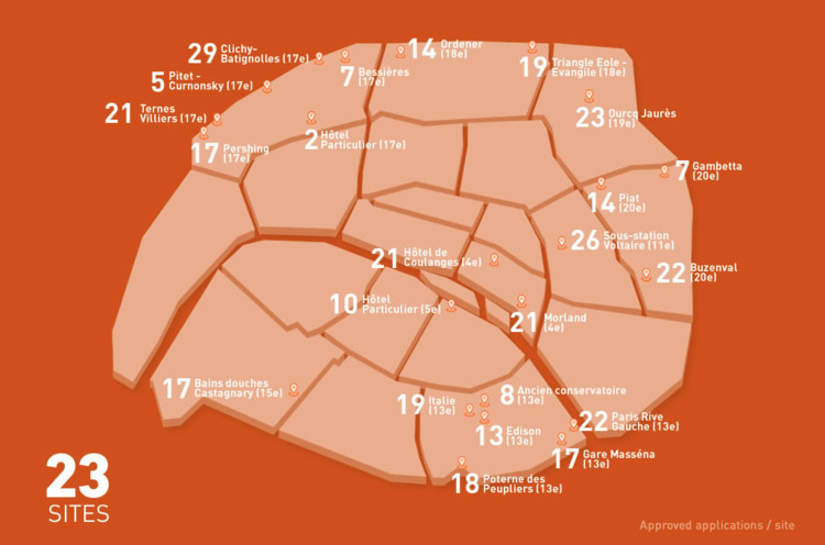 75 Projects Advance in Reinventing Paris Competition, Map of all 23 sites. Image © Reinventer Paris