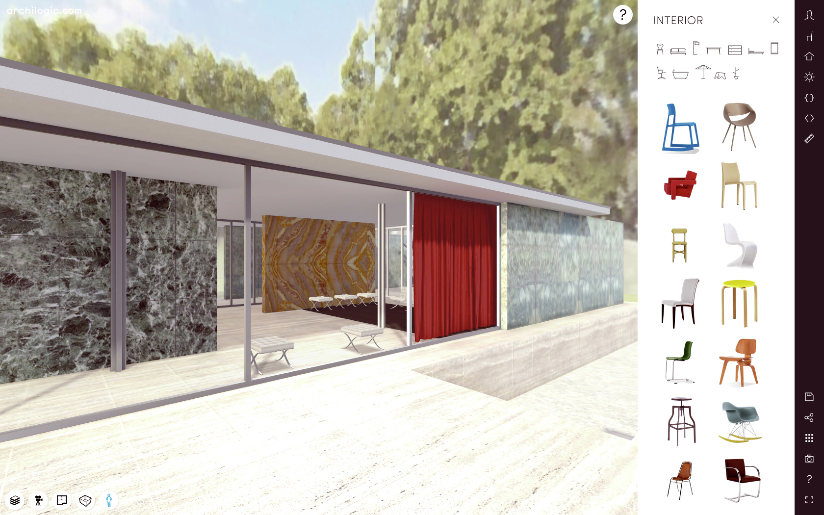 a virtual look into mies van der rohe 39 s barcelona pavilion. Black Bedroom Furniture Sets. Home Design Ideas