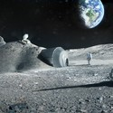 Ground Level View of Lunar Habitation. Image Courtesy of Foster + Partners