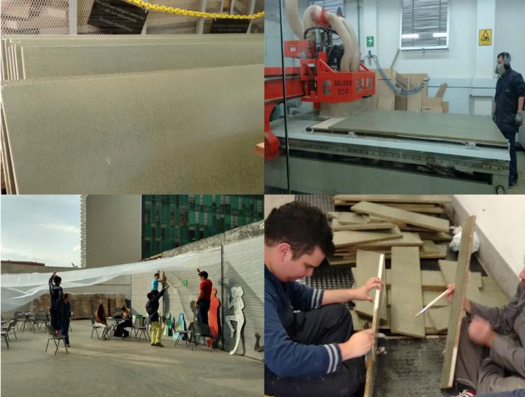 Proceso de construcción Pabellón Armadillo / 2014.02. Image Cortesía de Carolina M. Rodriguez Bernal