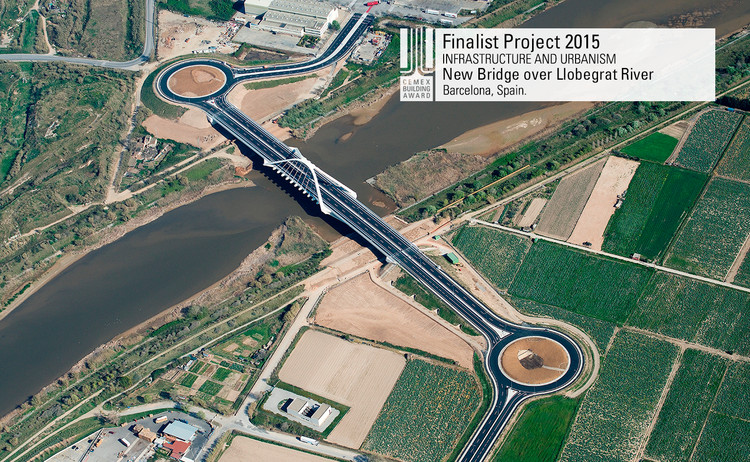 Finalista Infraestructura - Urbanismo - New Bridge over Llobegrat River. Image © Copisa Constructora Pirenaica S.A. Courtesy of CEMEX.